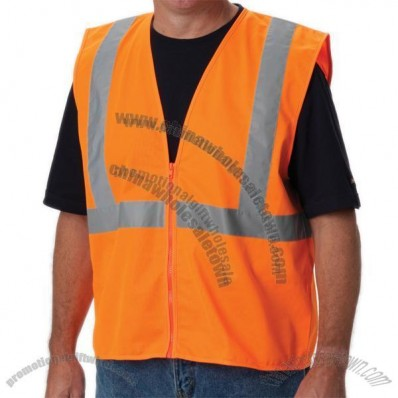 ANSI Class 2 Economy Solid Safety Vest with Zipper Closure - Orange