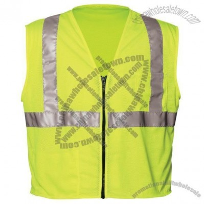 ANSI Class 2 Lime Mesh Value Safety Vest, Zipper Closure, 2 Pockets
