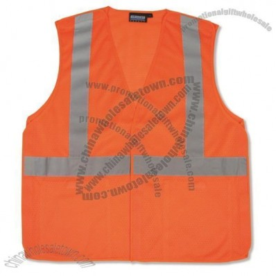 ANSI Class 2 Mesh Break-Away Vest with Velcro Closure in Hi-Viz Orange