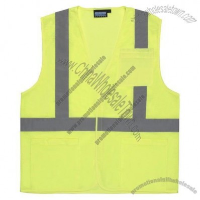 ANSI Class 2 Mesh Economy Safety Vest in Hi-Viz Lime