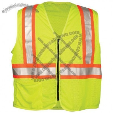 ANSI Class 2 Mesh Lime Surveyors Vest, Zipper Front, 2 Pockets