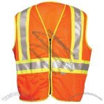 ANSI Class 2 Mesh Orange Surveyors Vest, Zipper Front, 2 inch Over 4