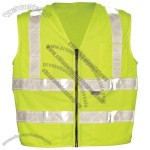 ANSI Class 2 Mesh Surveyors Vest, Zipper Front, 5 Pockets, Double Horizontal Stripes in Lime