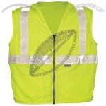 ANSI Class 2 Mesh Surveyors Vest, Zipper Front, 5 Pockets, Single Horizontal Stripe in Lime