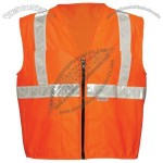 ANSI Class 2 Mesh Surveyors Vest, Zipper Front, 5 Pockets, Single Horizontal Stripe in Orange