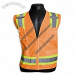 ANSI Class 2 Safety Vest with Solid Front and Mesh Back, Zipper Closure, 6 Pockets Hi-Vis Orange