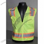 ANSI Class 2 Safety Vest with Solid Front and Mesh Back, Zipper Closure, 6 Pockets Hi-Vis Yellow