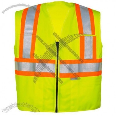 ANSI Class 2 Solid Lime Surveyors Vest, Zipper Front, 5 Pockets