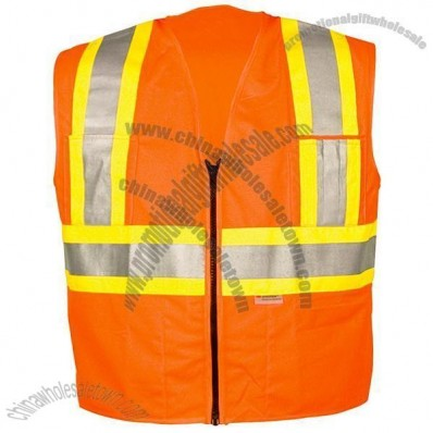 ANSI Class 2 Solid Orange Surveyors Vest, Zipper Front, 5 Pockets