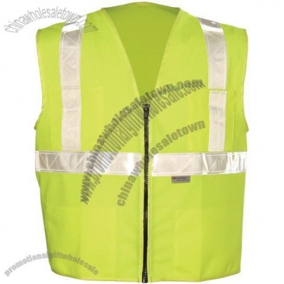 ANSI Class 2 Solid Surveyors Vest, Zipper Front, 5 Pockets, Single Horizontal Stripe in Lime