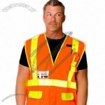 ANSI Class 2 Solid Vest- Orange with Yellow Prismatic 3M Tape, Snap Closure