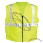 ANSI Class 2 Surveyors Vest, Solid Front- Mesh Back, Zipper Closure, 5 Pockets in Lime