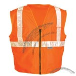 ANSI Class 2 Surveyors Vest, Solid Front- Mesh Back, Zipper Closure, 5 Pockets in Orange