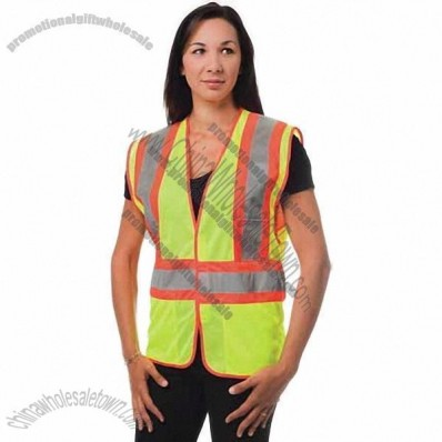 ANSI Class 2 Two Tone Mesh Safety Vest, Velcro Closure, Chest Pocket Hi-Vis Yellow
