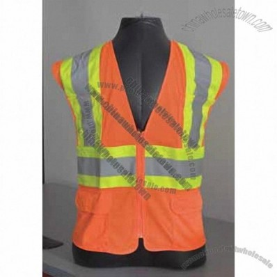 ANSI Class 2 Two Tone Mesh Safety Vest, Zipper Closure, 6 Pockets Hi-Vis Orange