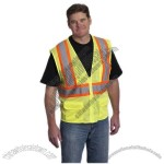 ANSI Class 2 Two Tone Mesh Safety Vest, Zipper Closure, 6 Pockets Hi-Vis Yellow