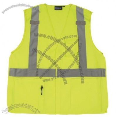 ANSI Class 2 Woven Oxford Break-Away Safety Vest in Hi-Viz Lime