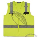 ANSI Class 2 Woven Oxford Surveyors Vest in Hi-Viz Lime