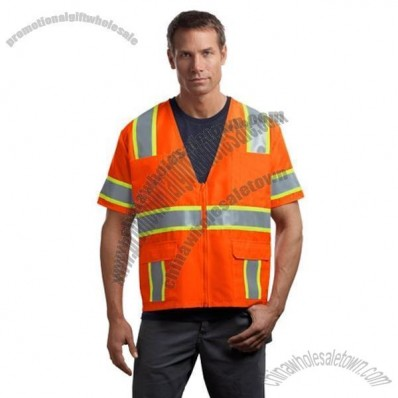 ANSI Class 3 Dual-Color Safety Vest in Safety Orange