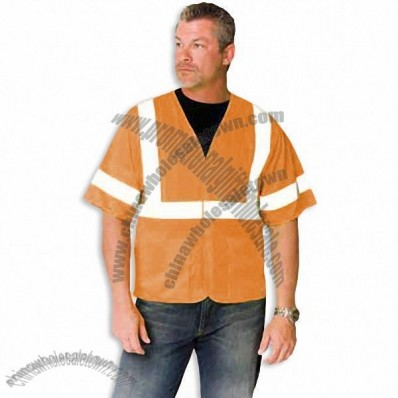 ANSI Class 3 Economy Mesh Safety Vest with Velcro Closure Hi-Vis Orange