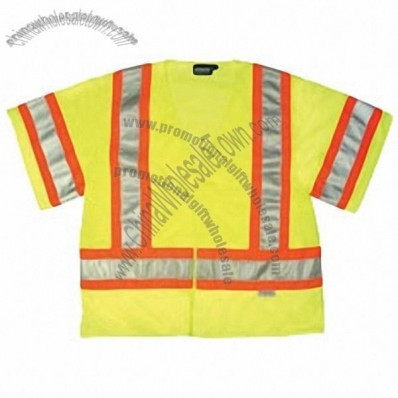 ANSI Class 3 Mesh Safety Vest with Contrasting Trim, Velcro Closure in Hi-Viz Lime