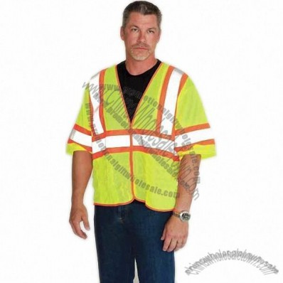 ANSI Class 3 Premium Mesh Safety Vest with Zipper Closure Hi-Vis Yellow
