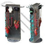 Acrylic Jewelry Display with Rotating Base, Holes Can Put Hangers to Hang Necklace and Bracelet