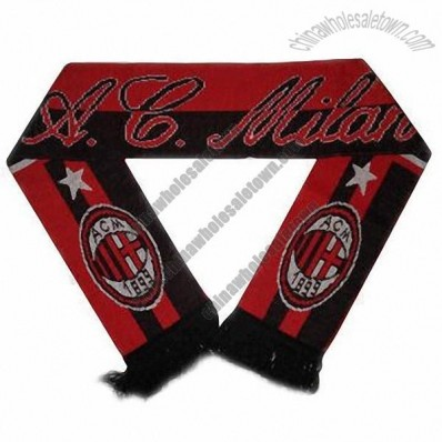 Acrylic Wools Knitted Jacquard Football Scarf