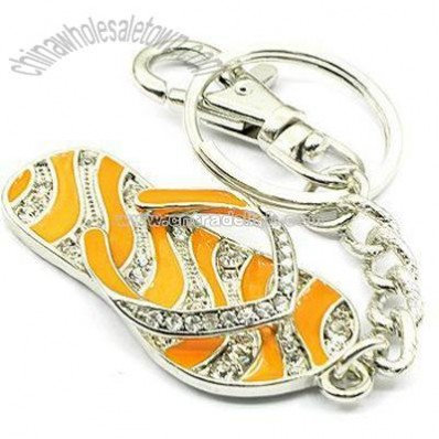 Adorable Orange Flip Flop Keychain/Purse Charm