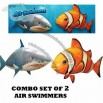 Air Swimmers Combo Set 1 Clown Fish & 1 Shark Remote Control Toys