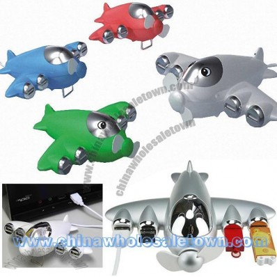 Airplane Shaped 4-ports USB Hub and Mini Fan