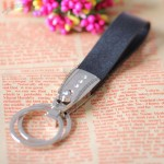 Alloy Leather Keychain with Rhinestone