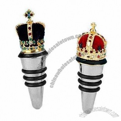 Alloy Mini Crown Bottle Stoppers with Austrian Crystal