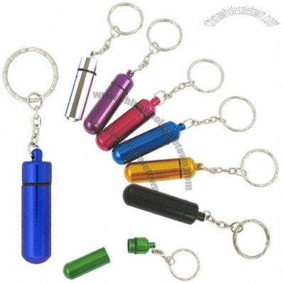 Aluminum Pill Tube With Key Chain
