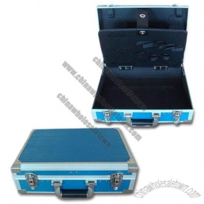 Aluminum Tool Box with Light Blue Stripe