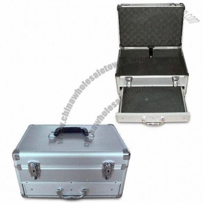 Aluminum Tool Case with Drawer and Silver Diamond Pattern Surface