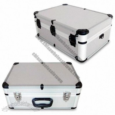 Aluminum Toolbox with Silver Stripe Aluminum Sheet Surface and Black Plastic Corners
