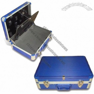 Aluminum Toolbox with Two Metal Key Locks and Blue Stripe ABS Surface