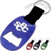 Aluminum bottle opener with web strap and split keyring