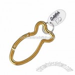 Aluminum carabiner key chain with white plastic oval tag on split ring