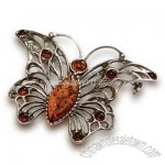 Amber Butterfly Pin