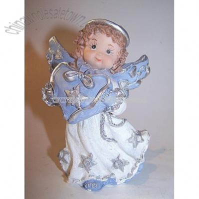 Angel with Blue Heart, Silver Decorated