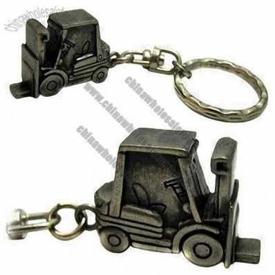 Antique Brushed Keychain with 3D Molded Logo