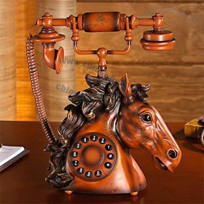 Antique Resin Horse Head Pattern Corded Desk Telephone