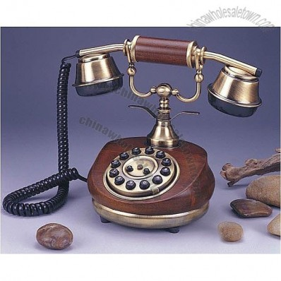 Antique Round Wooden Telephone