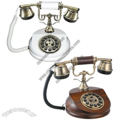 Antique Telephone with Classic Style - White/Wooden