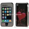 Apple iPhone 3G Carbon Fiber Heart Crystal Case
