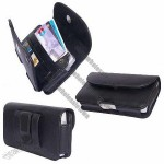 Apple iPhone PDA Premium Black Leather Wallet Carrying Case with Belt Loop and Clip - Include Access