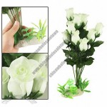 Aquarium Fish Tank 12 White Rose Flower Design Artificial Plants Decor