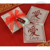 Asian Chinese Love Glass Coasters